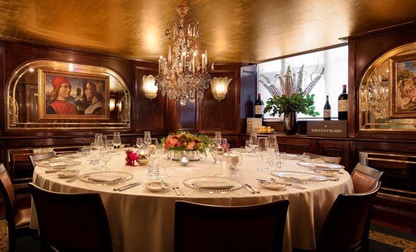 The Private Dining room with a table set at Harry's Dolce Vita Italian Restaurant in Knightsbridge